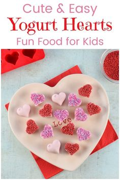 Quick and Easy Frozen Yogurt Hearts recipe - fun Valentines Day snack for kids - Eats Amazing UK Food Art For Kids, Cooking With Kids, Coconut Ice Recipe, Frozen Yogurt Bites, Cute Frozen, Valentines Day Food, Holidays With Kids, Healthy Kids, Healthy Food