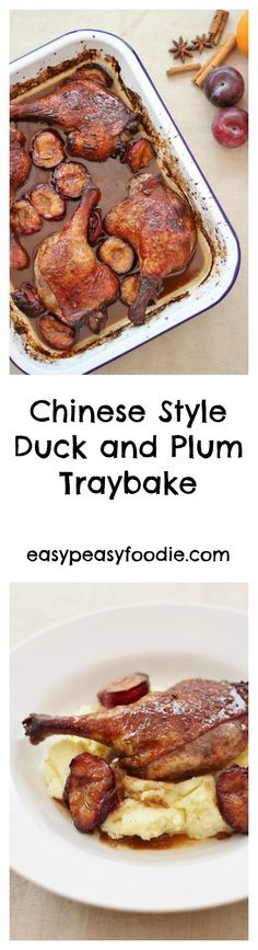 Flavoured with soy sauce, honey, Chinese five spice and chilli, this Chinese Style Duck and Plum Traybake tastes really decadent, but is actually super easy to make. Goose Recipes, Duck Recipes, Great Recipes, Favorite Recipes, Fall Recipes, Bar Restaurant Design, Restaurant Recipes, Architecture Restaurant, Honey And Soy Sauce
