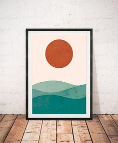 Sea print Watercolor print Geometric wall art by ShopTempsModernes