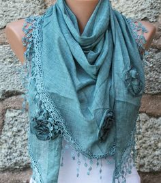 Bondi Blue Scarf  Pure Cotton  Headband Necklace Cowl by fatwoman, $23.00