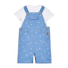 Mothercare Baby Boys Anchor Navy Bibshorts and Stripe Bodysuit Set