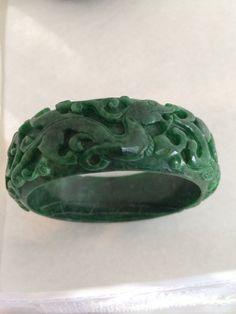 Carved Jadeite Lucky Dragon / Phoenix Genuine Heavy Deep Green Jade  Wide Antique / Vintage Bangle Bracelet