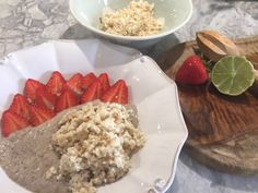 Banana Chia pudding with nut crumble.  A healthy filling breakfast.  Find out how t make it at rawfit.co