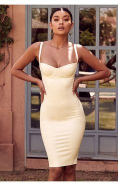 1fa72c785b4 Clothing   Bodycon Dresses    Casmia  Vanilla Latex Detachable Strap  Bustier and Skirt Two