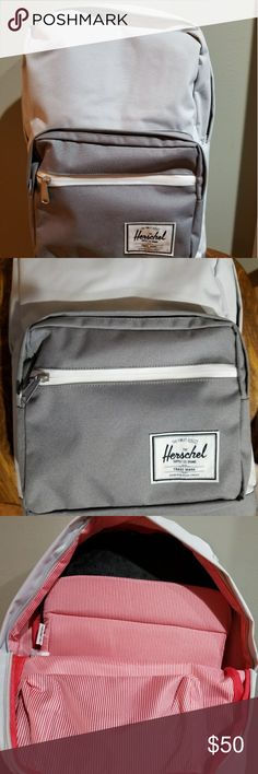 Herschel Popquiz Backpack Herschel backpack. Style is Popquiz. Has lots of pockets, some hidden. Very popular style with Middle/High school and College students. Perfect condition. Used once. Color is a very pale grayish silver, almost white with gray pockets and red interior. Herschel Supply Company Bags Backpacks