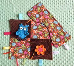 Handmade Baby Sensory Ribbon, Lovey Taggie Blanket + Burp Cloth Animals #OhSewKnotty