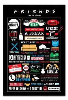 Friends TV Show Infographic Poster Black Framed & Satin Matt Laminated - 96.5 x 66 cms (Approx 38 x  @ niftywarehouse.com #NiftyWarehouse #Friends #TV #Show #FriendsShow #FriendsTVShow
