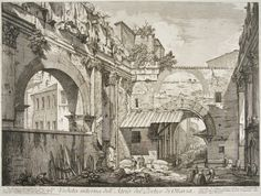 engraving by Giovanni Battista Piranesi - view of Portico Octavia - From Vedute di Roma (Views of Rome) ancient #Roman ruins - #Rome