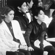 3/5 Baek rubbing Sehun thigh, looks like Baek is comforting Sehun