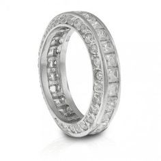 Bling Jewelry Sterling Silver Princess Cut CZ Stackable Eternity Ring White Gold Eternity Rings, Full Eternity Ring, Eternity Ring Diamond, Eternity Bands, White Gold Rings, Cheap Silver Jewelry, Bling Jewelry, Sterling Silver Jewelry, Jewelry Rings