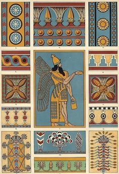 Egyptian design images | collage sheet with egyptian patterns and designs vintage egyptian ...