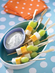 Grape, Cheddar and Jicama Skewers with Cilantro Lime Dipping Sauce from FoodNetwork.com