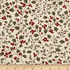 Moda Merriment Vines & Berries Ivory from @fabricdotcom  Designed by Sentimental Studios for Moda, this cotton print is perfect for quilting, apparel and home decor accents.  Colors include ivory, red and green.