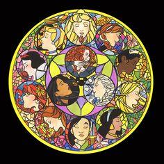 Disney Princesses Stained Glass by kiasherria on deviantART
