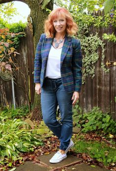 Sunday Funday: Plaid Blazer, Denim Joggers And Converse - Fashion Fairy Dust