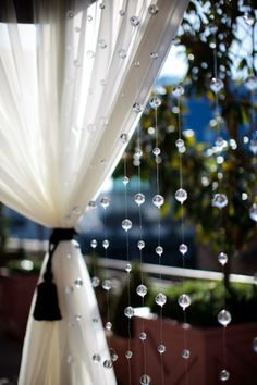 Hang crystal beaded curtains from the back end of the Sky Terrace Venue altar/gazebo for our ceremony Wedding Bells, Diy Wedding, Wedding Ceremony, Wedding Flowers, Wedding Day, Wedding Gazebo, Wedding Stuff, Gazebo Decorations, Wedding Decorations