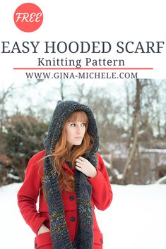 FREE knitting pattern for this Easy Hooded Scarf. Perfect for beginners!