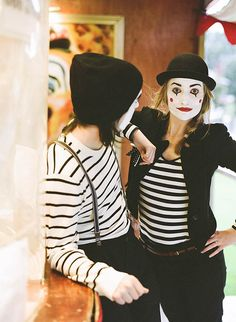 Mimes at the Circus Engagement Shoot by Brosnan Photographic on Rock n'Roll Bride.