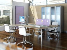Desk Kinesis with workstation partition lacquered RAL and behind library with glazed doors  //  ---  //  Scrivania Kinesis con paretina divisoria laccata RAL e dietro libreria con ante in vetro