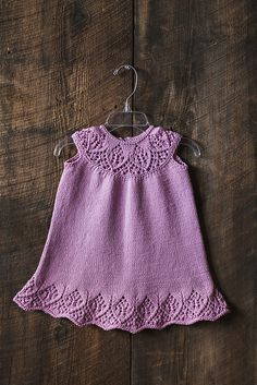 Knitting Pattern for a cute baby and child's dress with lace on yoke and hem. This baby dress was originally published in Let's Knit (UK) as 'Meredith Baby Dress'. The knitting pattern is graded to fit little girls from 9 months up to 7 years.