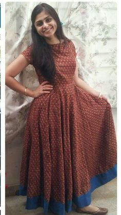 H Kalamkari Dresses, Ikkat Dresses, Long Gown Dress, Frock Dress, Latest Gown Design, Simple Dresses, Casual Dresses, Frock Patterns, Churidar Designs