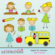 Apple for Teacher Stick Figures Cute Digital Clipart for Card Design, Scrapbooking, and Web Design School Clipart, Cute Clipart, School Items, Teachers' Day, Stick Figures, Free Baby Stuff, Art School, Art Lessons, Digimon