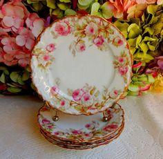 4 Beautiful Antique Limoges Porcelain Plates ~ Drop Rose ~ Gold Gilt #Limoges