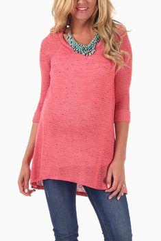 Pink Grey Knit 3/4 Sleeve Maternity Tunic #maternity #cutematernityclothes #cutematernitysweater #maternityoutfitideas