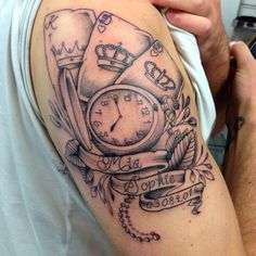 Playing cards and pocket watch.