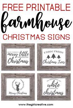 Free Printable Farmhouse Christmas Signs | Rustic Farmhouse Signs for Christmas | Free Farmhouse Printables
