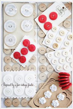Red and white vintage buttons. Makes me think that you could use vintage button cards in your colors to decorate.