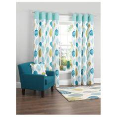 Tesco Watercolour Leaf Lined Eyelet Curtains W168xL137cm (66x54