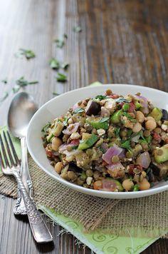 Mediterranean Chickpea and Lentil Salad - Cookie Monster Cooking