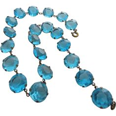 Gorgeous Signed Czech Turquoise Glass  Necklace, Rivière Style, c. 1930's