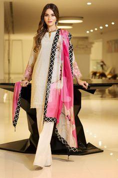 Elegant pink 3 piece unstitched pret dress by Nishat Linen spring collection pink 3 piece unstitched pret dress by Nishat Linen spring collection 2018 Simple Pakistani Dresses, Pakistani Fashion Casual, Pakistani Dress Design, Pakistani Outfits, Simple Dresses, Indian Outfits, Indian Fashion, Casual Dresses, Fashion Dresses