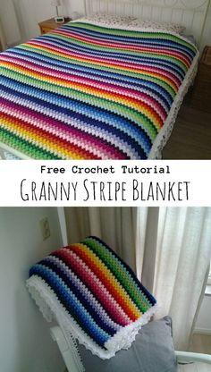 double a design blanket free crochet pattern Granny Stripes, Point Granny Au Crochet, Granny Stripe Blanket, Striped Crochet Blanket, Crochet Squares Afghan, Crochet Ripple, Rainbow Crochet, Crochet Quilt, Manta Crochet