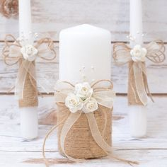 Rustic Wedding Set Guest Book Unity Candle Set Wedding Glasses