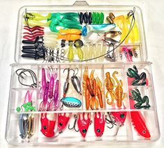 Buy tackle box with Lot Of Saltwater Lures- Deep Sea Fishing at online store Saltwater Lures, Plastic Worms, Topwater Lures, Fishing Rods And Reels, Tackle Box, Deep Sea Fishing, Fish Hook, Fishing Lures, Spoons