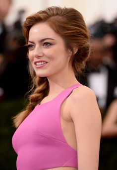 Emma Stone at the 'Charles James: Beyond Fashion' Costume Institute Gala at the Metropolitan Museum of Art 2014. Makeup by Rachel Goodwin for Chanel and Revlon.