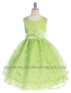 Girls Dress Style 736- Organza Sleeveless Dress with Sequin Embroidery $36.99