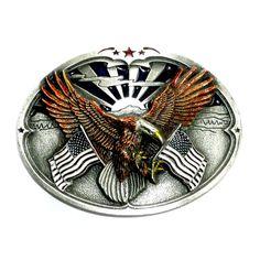 Bald Eagle American Flags Color Bergamot Pewter US Belt Buckle