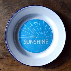You Are My Sunshine Enamel Plate - Light Blue