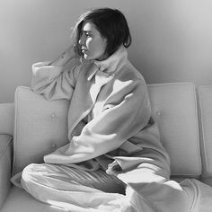 really love the clean, modern lines on the couch. Lykke Li in Catalogue Magazin, wearing Zero + Maria Cornejo ;