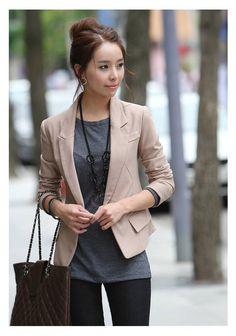 Slimming Solid Color Long Sleeves Cotton Blend Short Blazers For Women (khaki/black - s) (84/70cm)