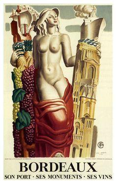 Bordeaux vintage travel poster ~ 'Son port, ses monuments, ses vins'
