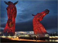 The Clydesdale horses heads near Falkirk. I drove past them on Monday night as they lit up the sky.