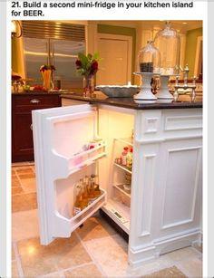 Built in mini fridge in kitchen