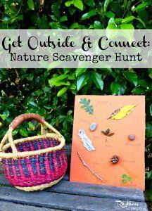 Create a nature scavenger hunt for your kids. Lot's of variations to help learning; sensory, memory, math, matching & sorting, etc. Includes links to free printables!