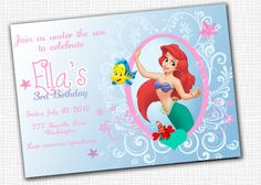 The Little Mermaid  - Invitation - Printable. $5.00, via Etsy.