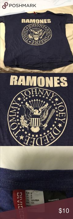 Blue Ramones fitted tee Heathers blue Ramones fitted tee. Longer than normal short sleeves. A few unnoticeable holes in the front but you can really see them. Size runs much larger so the posted size. H&M Tops Tees - Short Sleeve